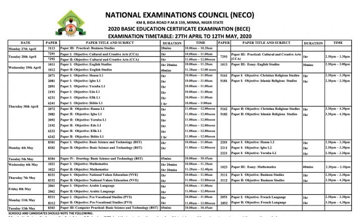 2020 NECO BECE Timetable for JSS 3 Candidates [Junior WAEC]