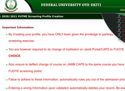 FOUYE POST UTME APPLICATION FORM FOR 2029/2021 ACADEMIC SESSION IS OUT