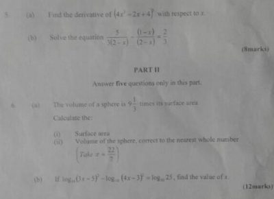 NECO 2020 Mathematics Answers