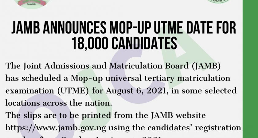 JAMB announces mop-up UTME date for 18,000 candidates: