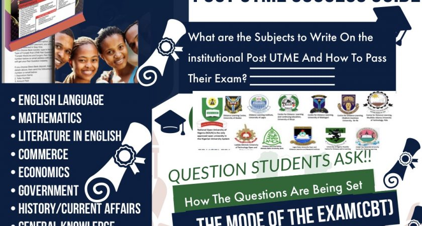 MODUS OF POST UTME QUESTIONS AND SUBJECTS NEEDED IN THE EXAMS: