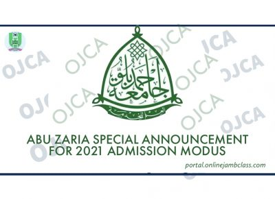 SPECIAL ANNOUCEMENT ON ABU 2021 ADMISSION MODUS: